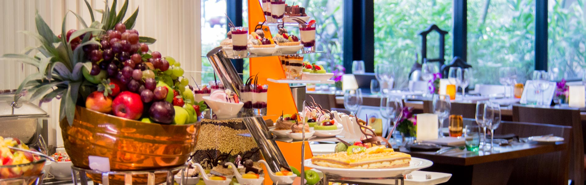 Delicious treats of desserts and pastry at the buffet